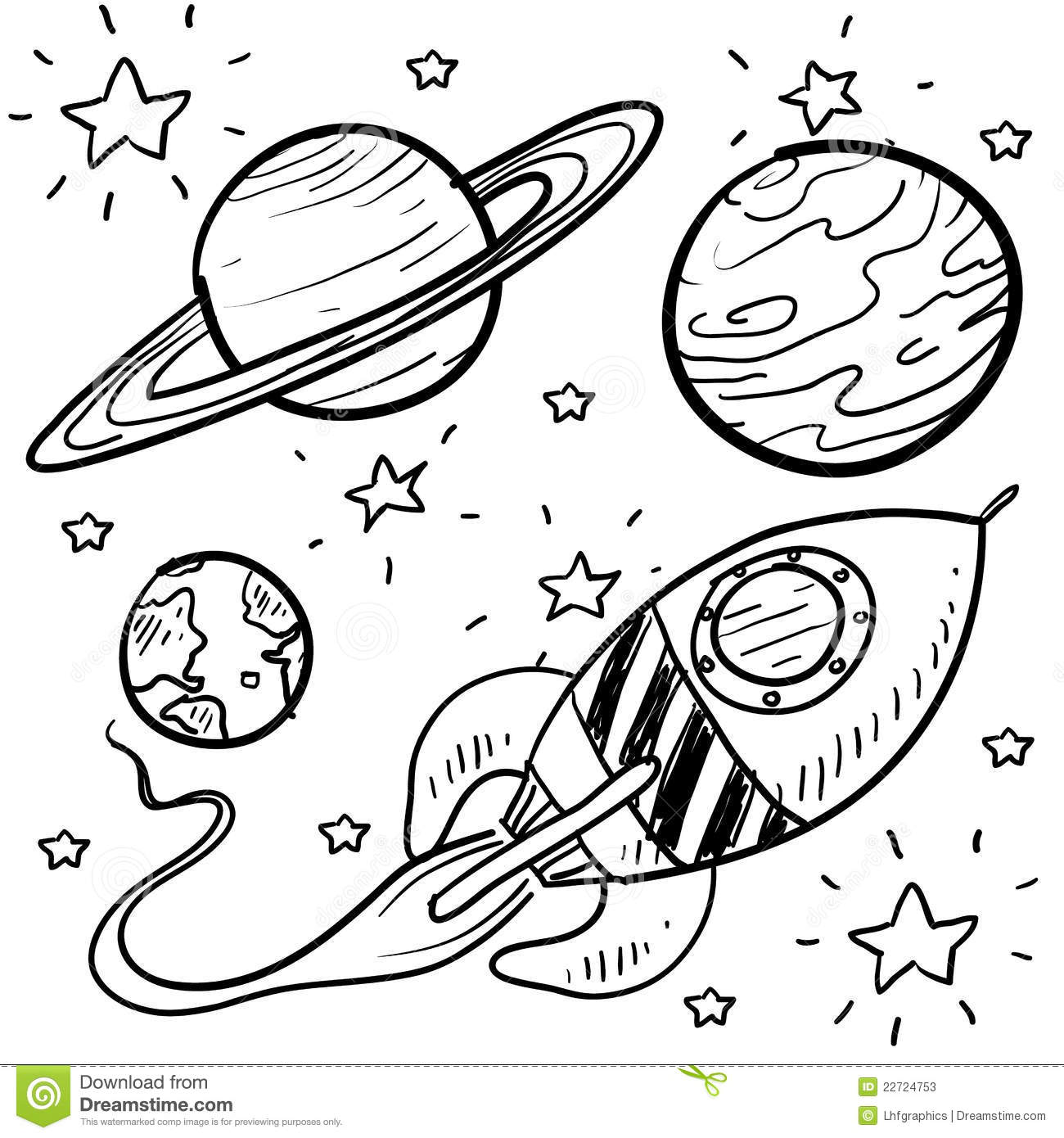 Space Exploration Or Astronomy Objects Sketch Stock Vector