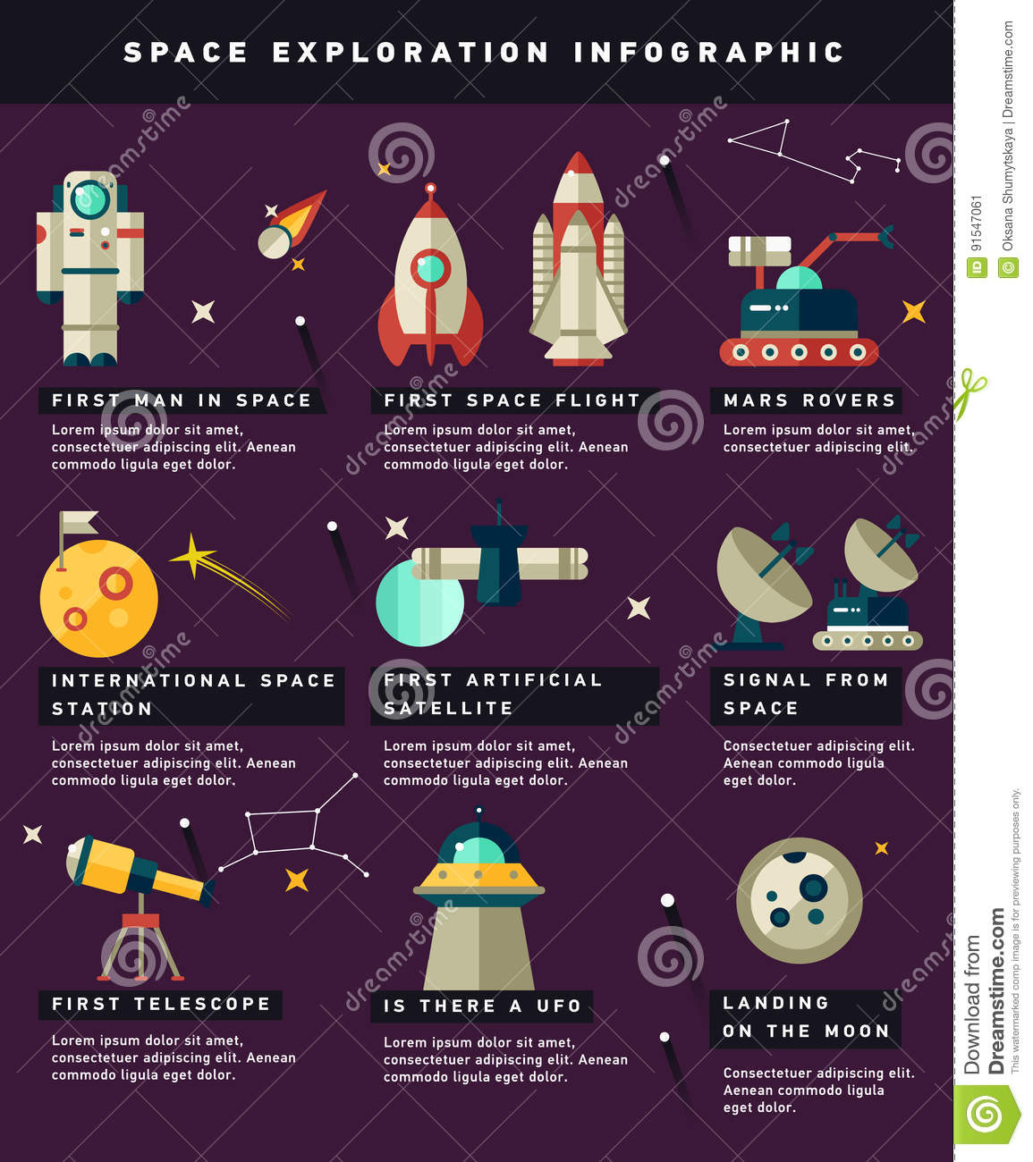 Space Exploration Timeline Infographic Stock Vector