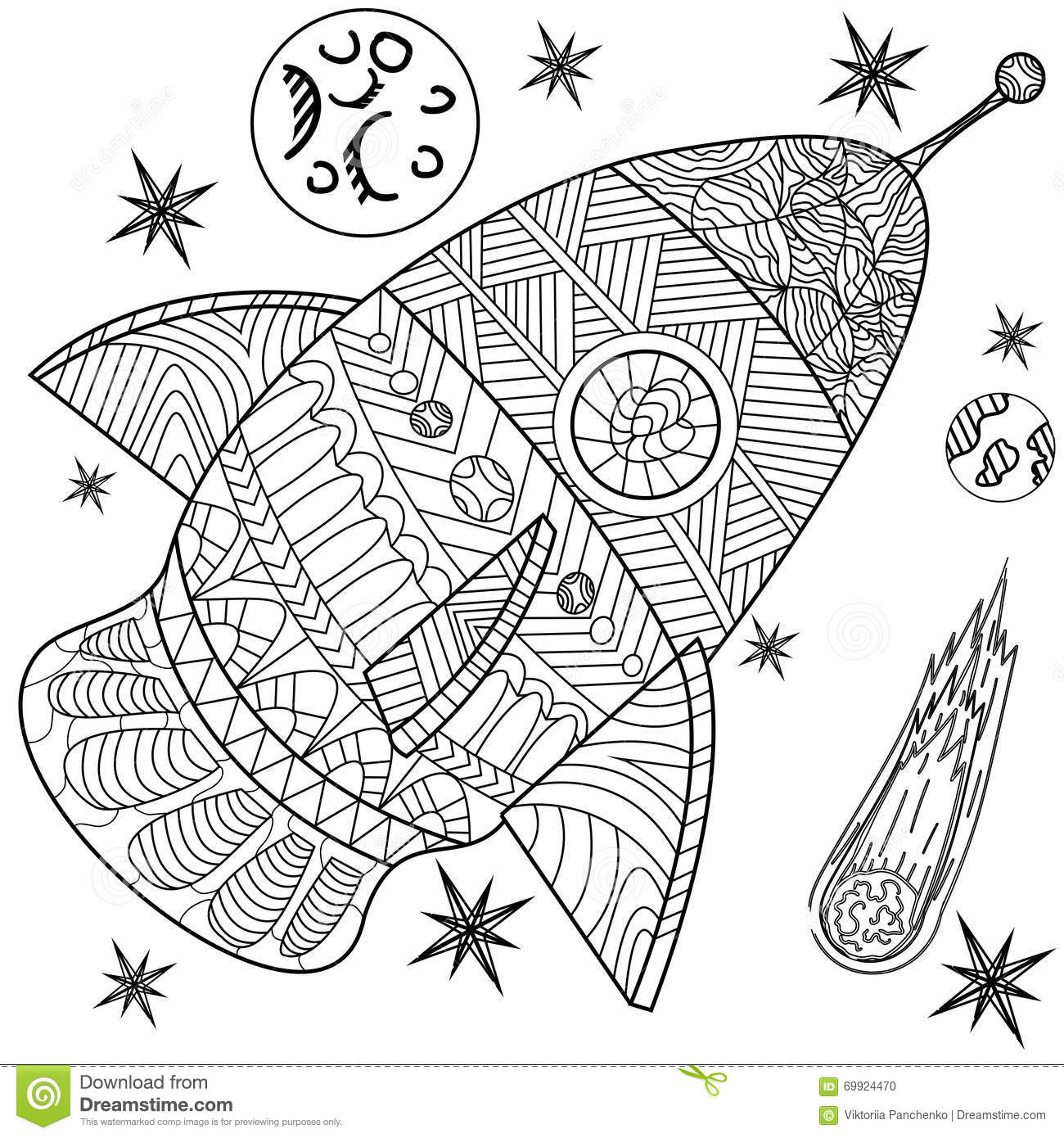 Space Line Art Design Vector Illustration Stock Vector