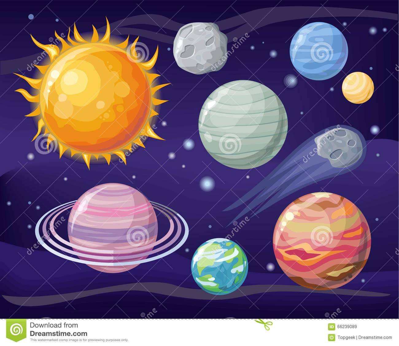 Space With Planet Sun And Star Design Flat Stock Vector