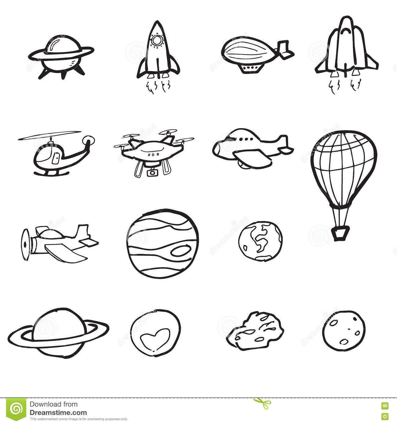 Space Shuttle Plane And Planet Cartoon Drawing Stock
