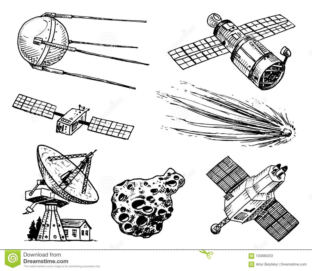 Space Shuttle Radio Telescope And Comet Asteroid And