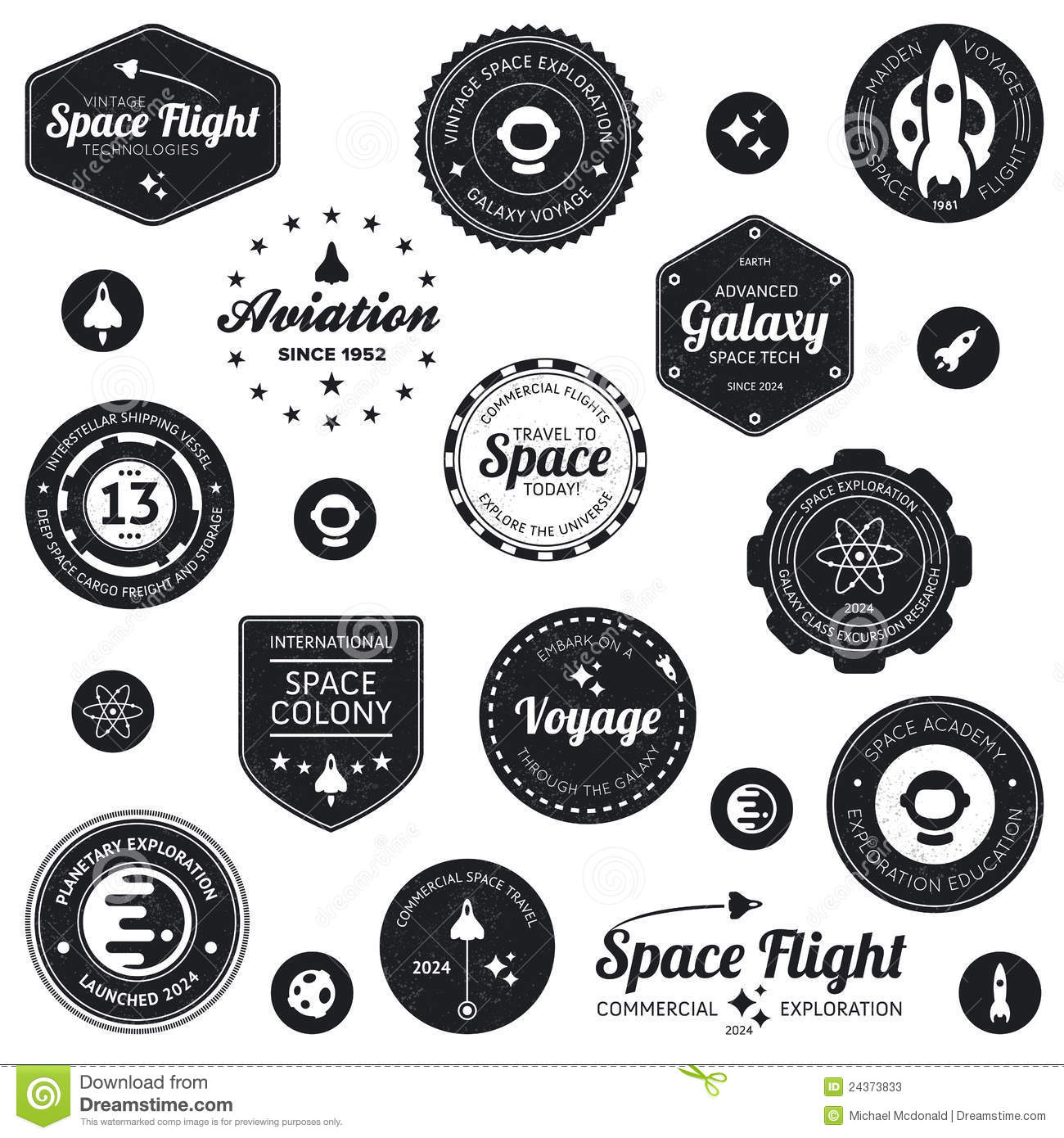 Space Travel Badges Stock Vector Illustration Of Seal