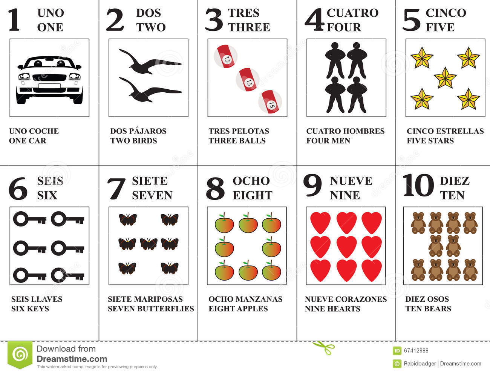 Spanische Zahl Flash Karten Vektor Abbildung