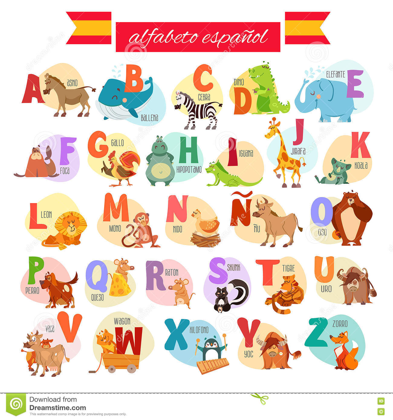 Spanish Abc For Preschool Education Stock Vector