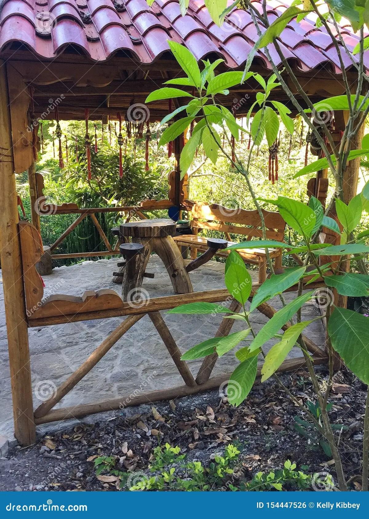 Picnic Table Made Out Of Tree Stump In Gazebo Stock Photo Image Of Picnic Gazebo 154447526
