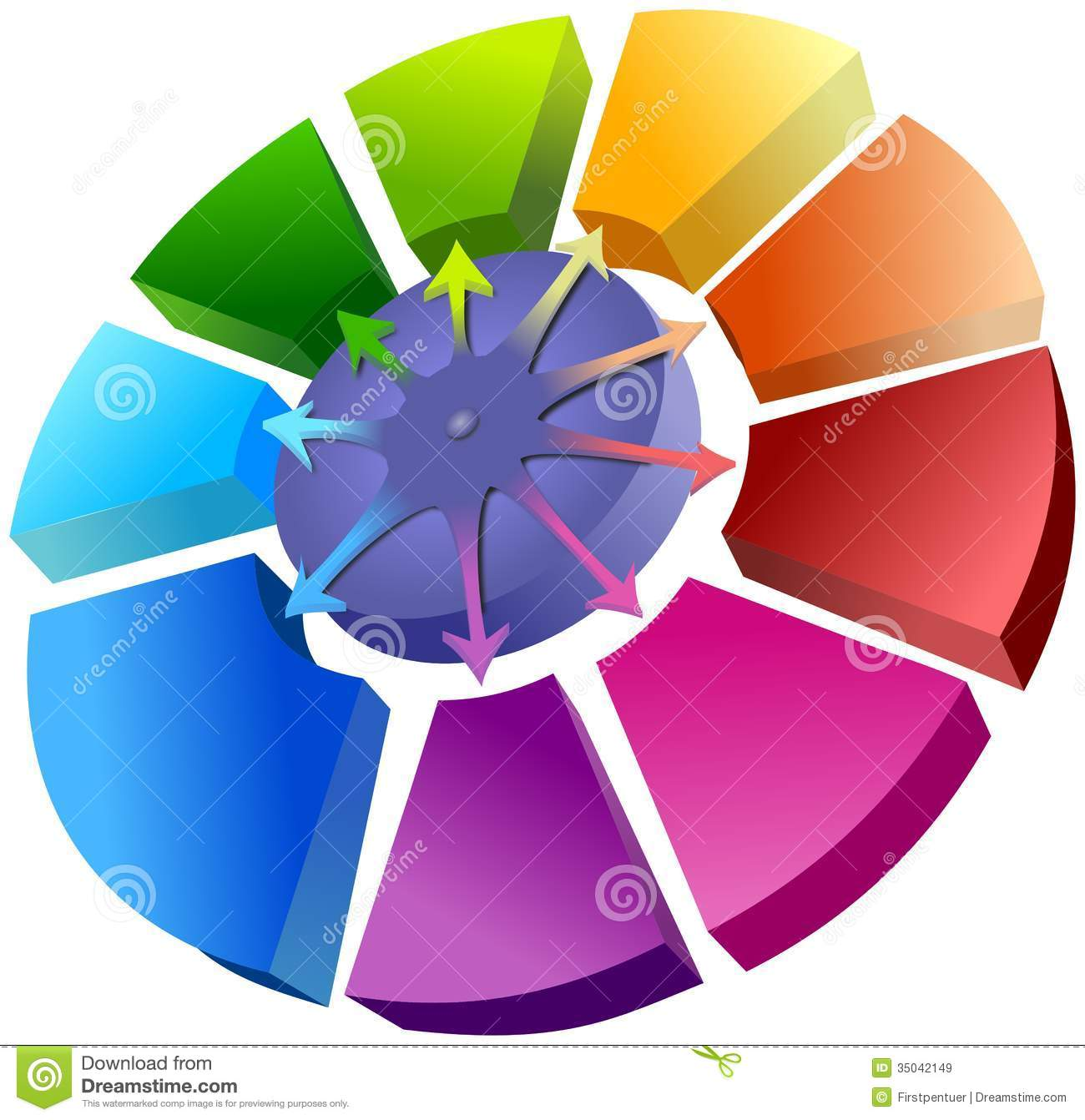 Spatial Circle Graph With Arrows Royalty Free Stock Images