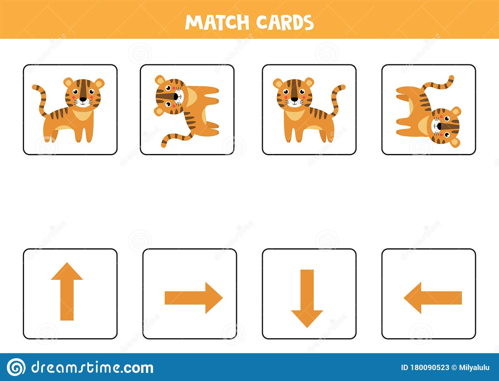 Spatial Orientation For Kids Cute Cartoon Tiger In