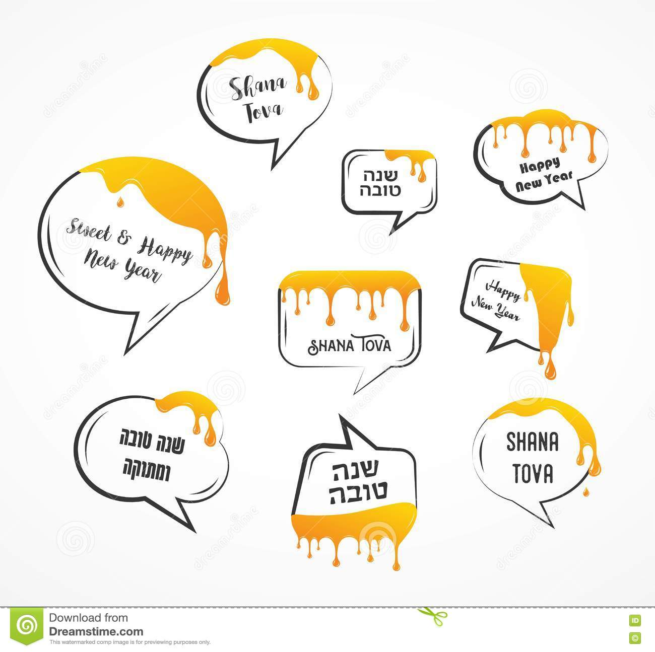 Speech Bubbles With Greetings For Jewish Holiday Rosh Hashanah Honey Drops And Leak Stock Vector