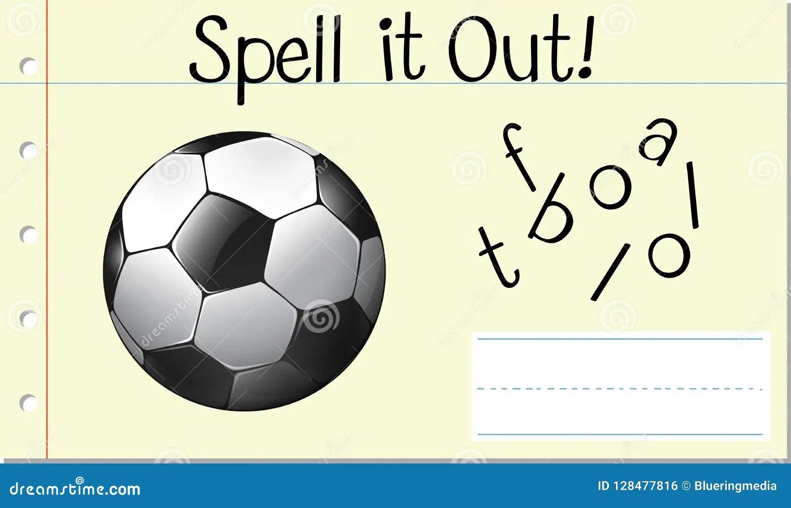 Spell English Word Football Stock Vector
