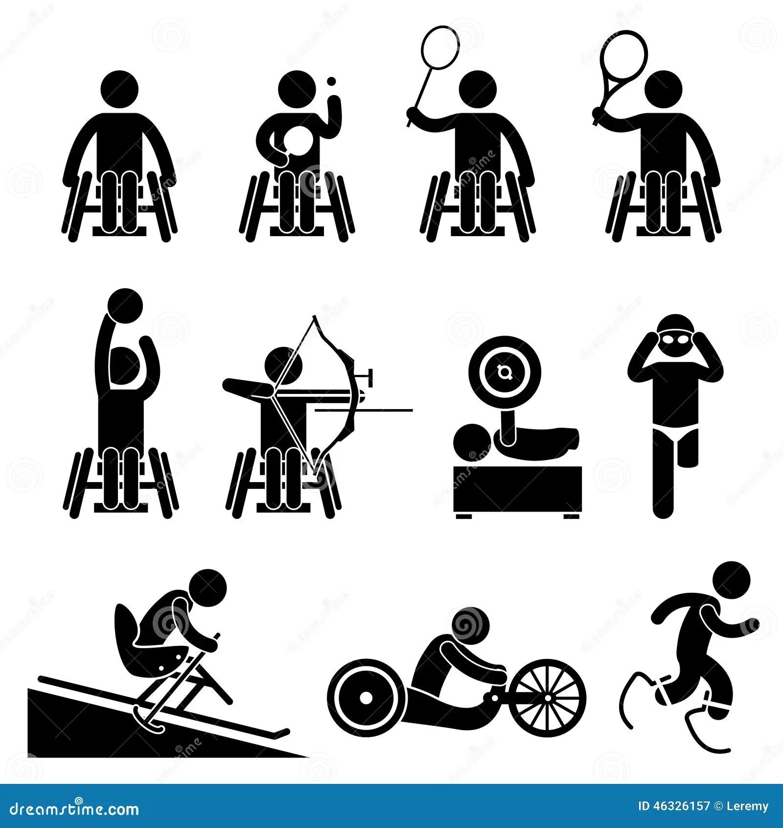 Sperrungs Handikap Sport Paralympic Spiele Cliparts Ikonen