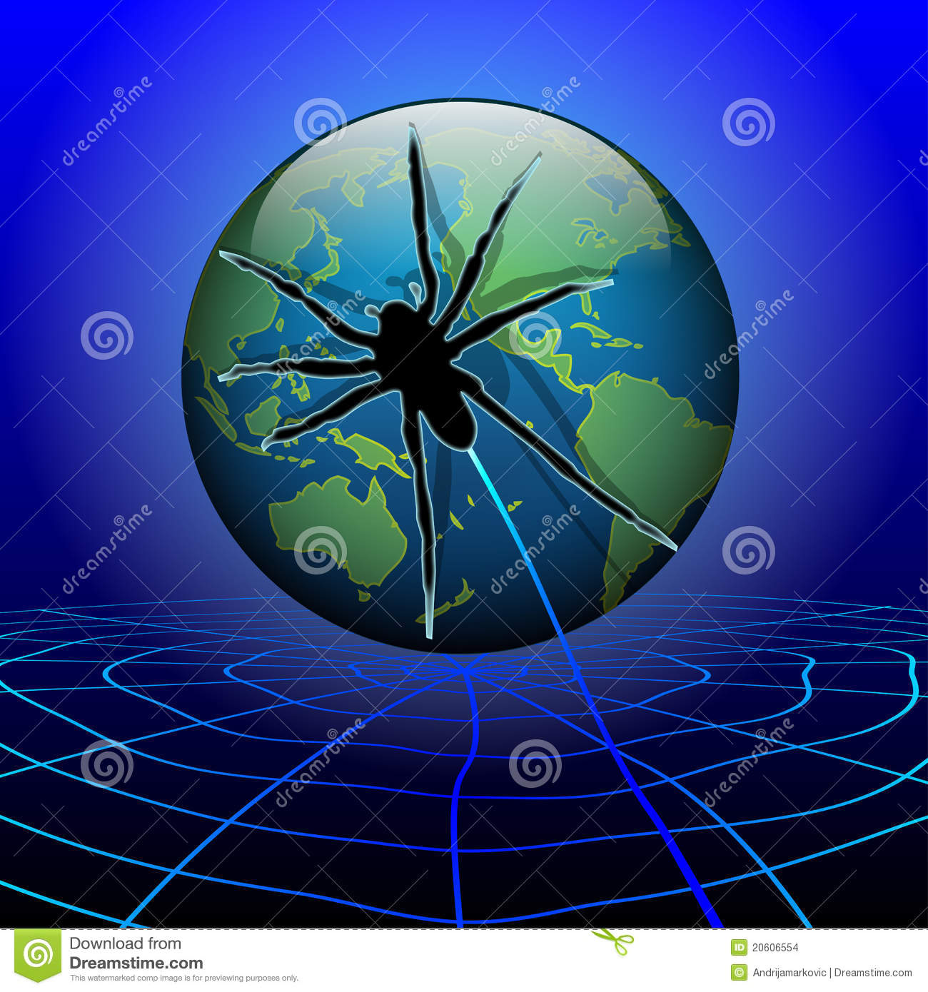 Spider Web Around The Earth Stock Vector