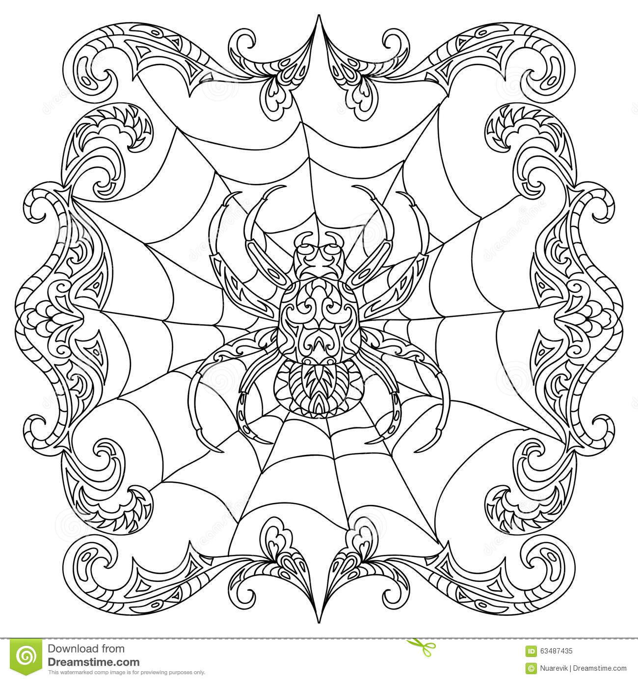 Spider Zentangle Coloring Page Stock Illustration