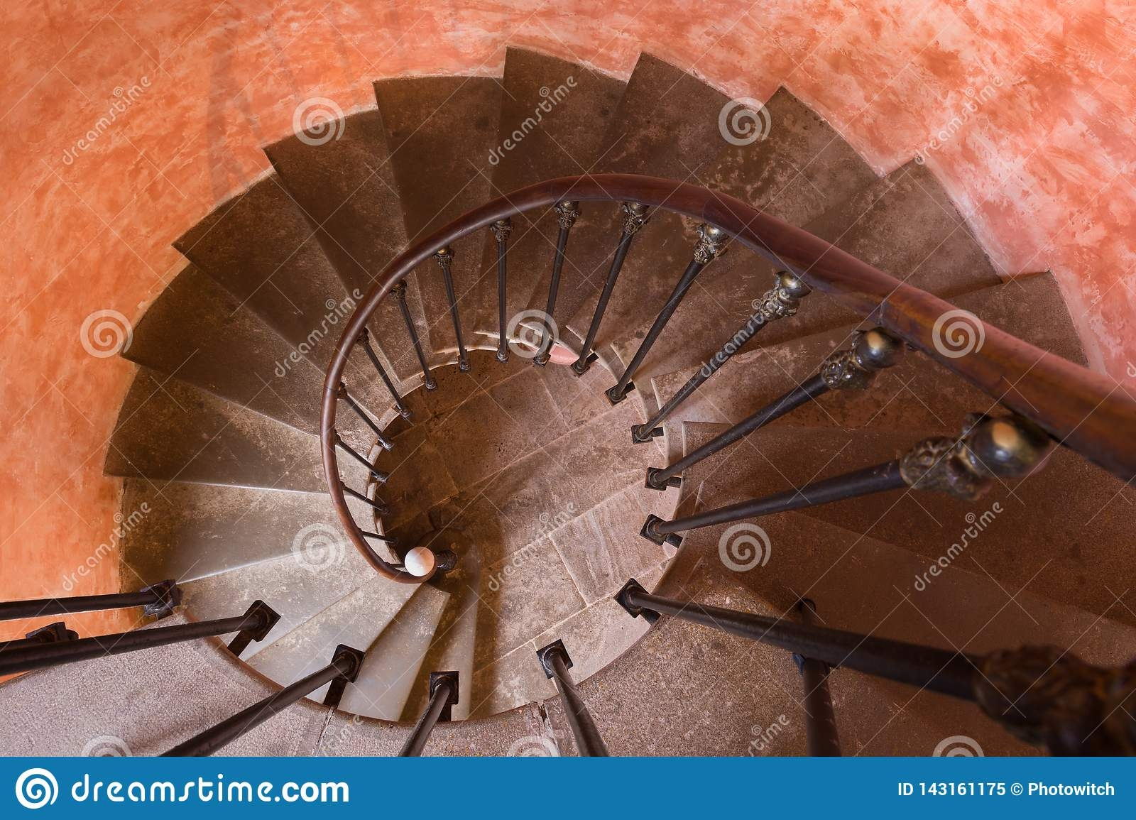 Spiral Staircase Top View Stock Image Image Of House 143161175 | Antique Spiral Staircase For Sale | French | Wooden | Old Fashioned | Wood Antique | Cast Iron