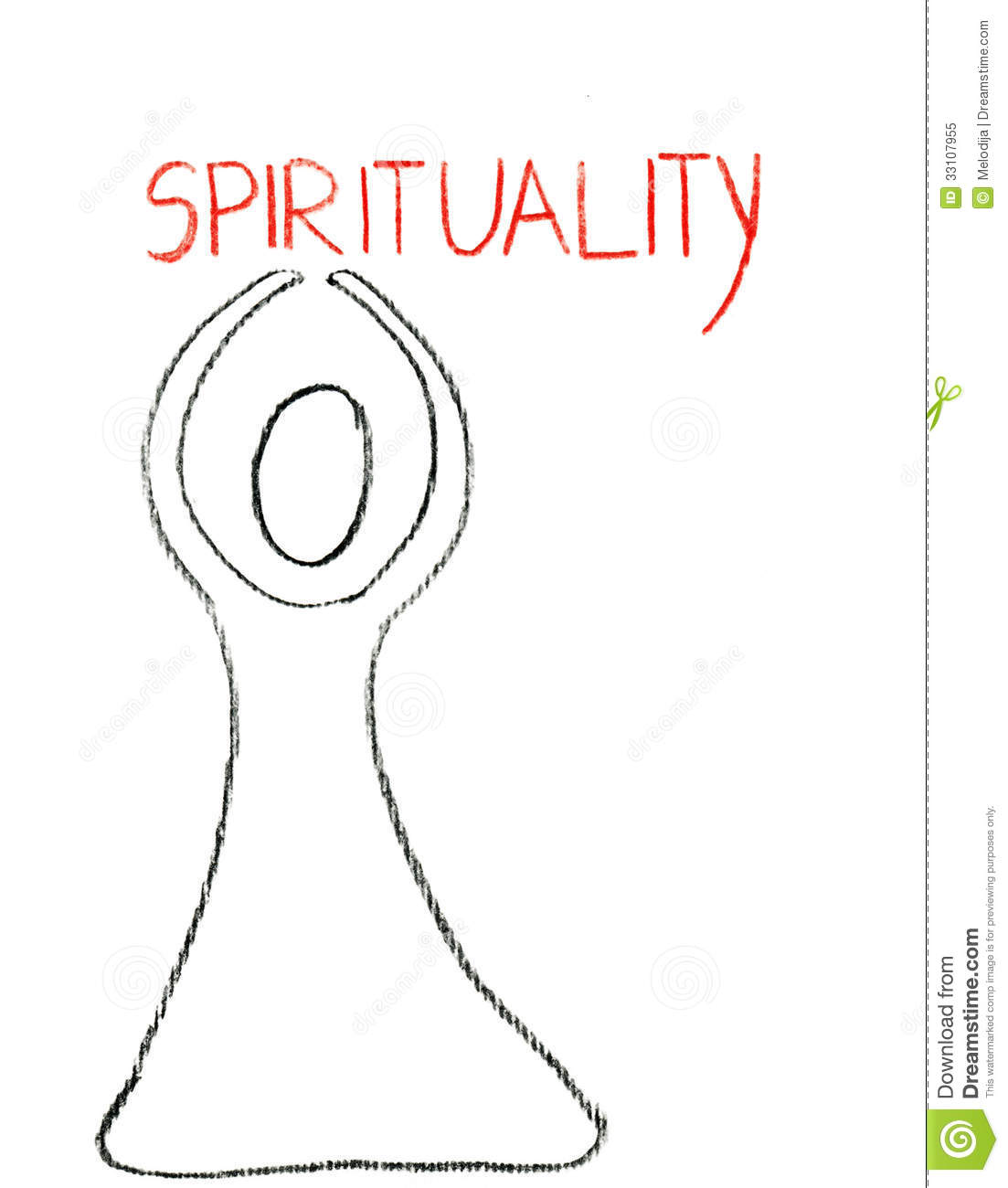 Spirituality Drawn With With A Crayon Royalty Free Stock