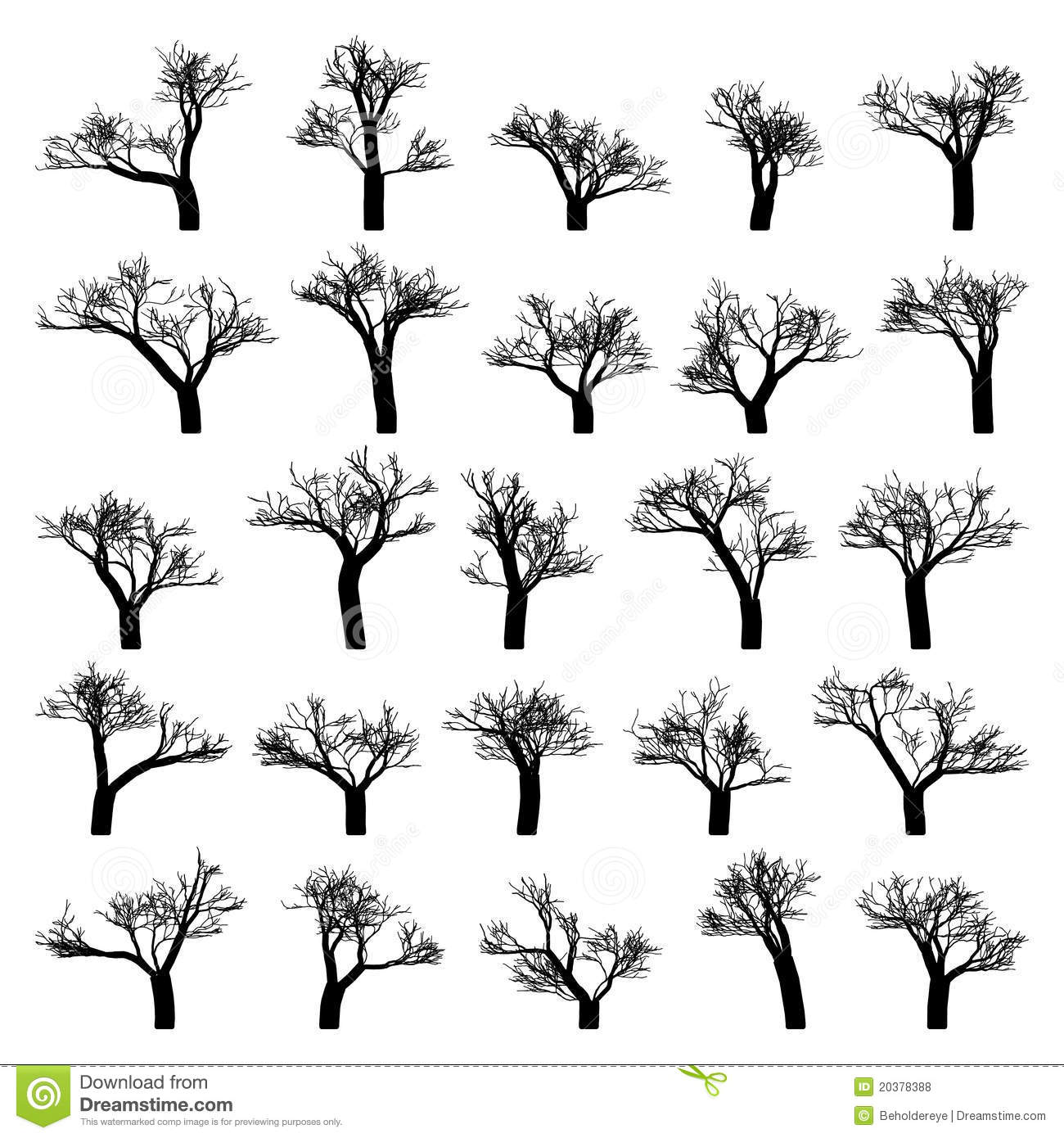Spooky Tree Silhouette Isolated Eps 8 Stock Vector