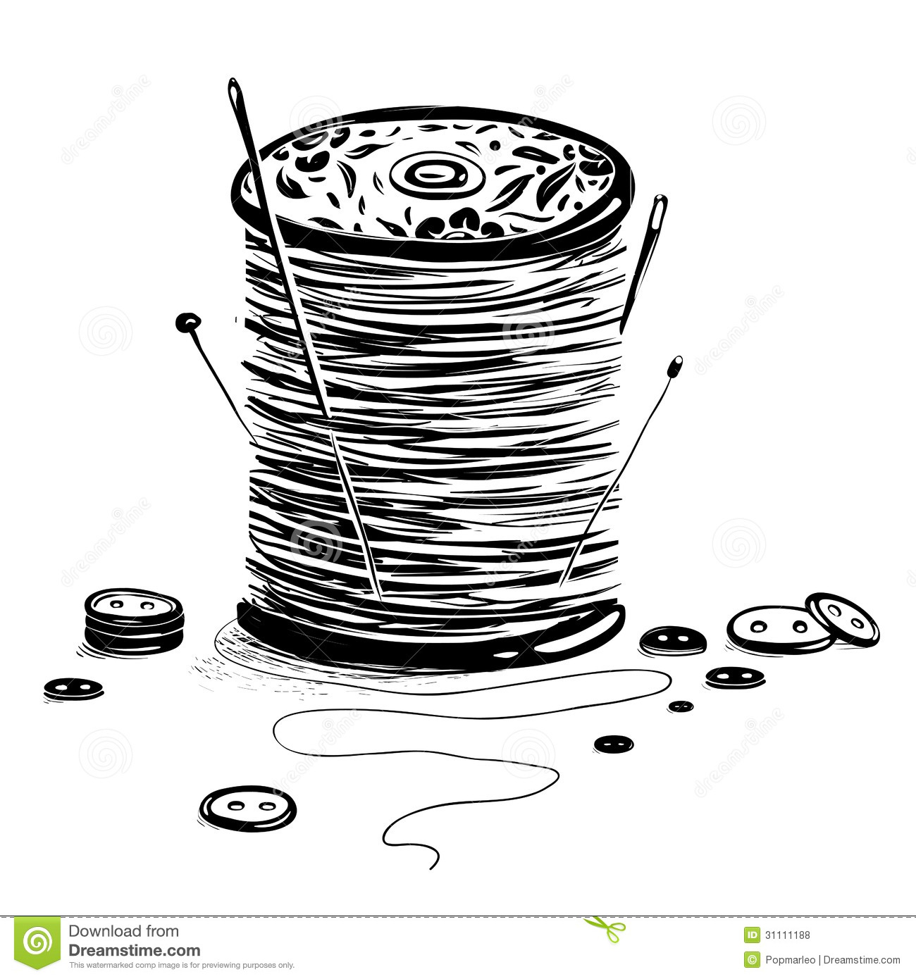 Spool Of Thread With Needles And Buttons Stock Vector