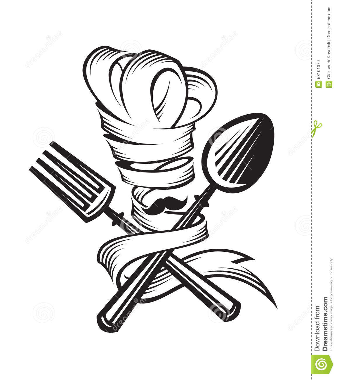 Chef With Spoon And Fork Cartoon Vector