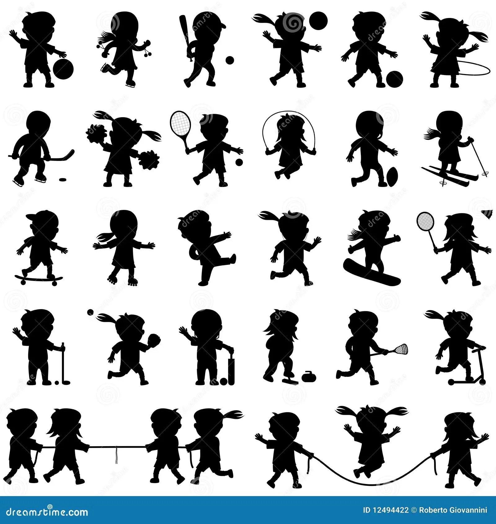 Sport Kind Schattenbilder Eingestellt Vektor Abbildung