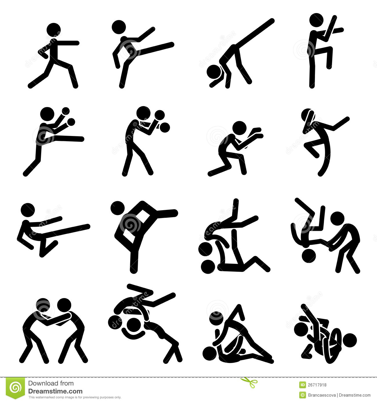 Sport Pictogram Icon Set 03 Martial Arts Royalty Free