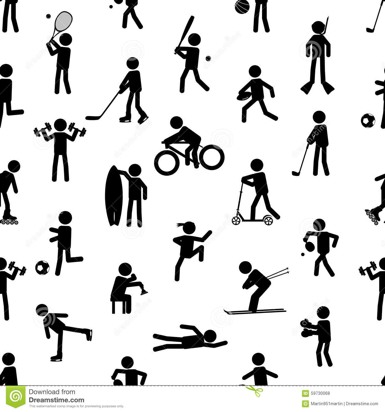 Sport Silhouettes Black Simple Icons Stock Vector