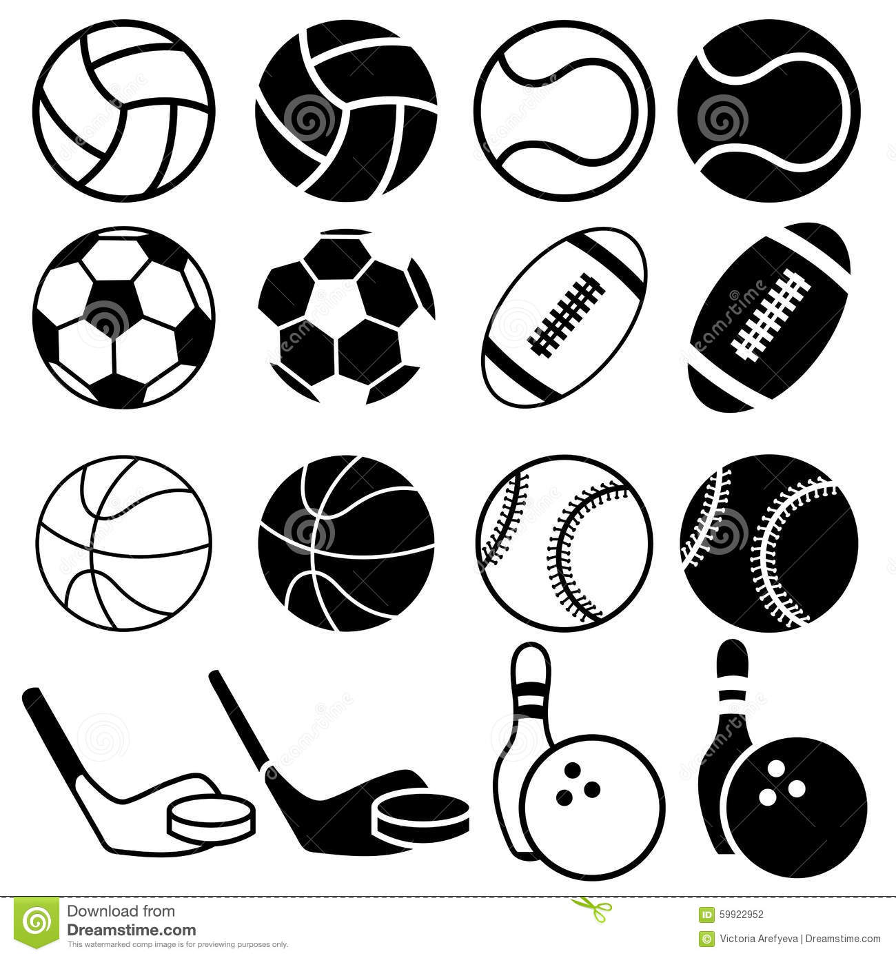 Sports Balls Icons Stock Illustration Image Of Black