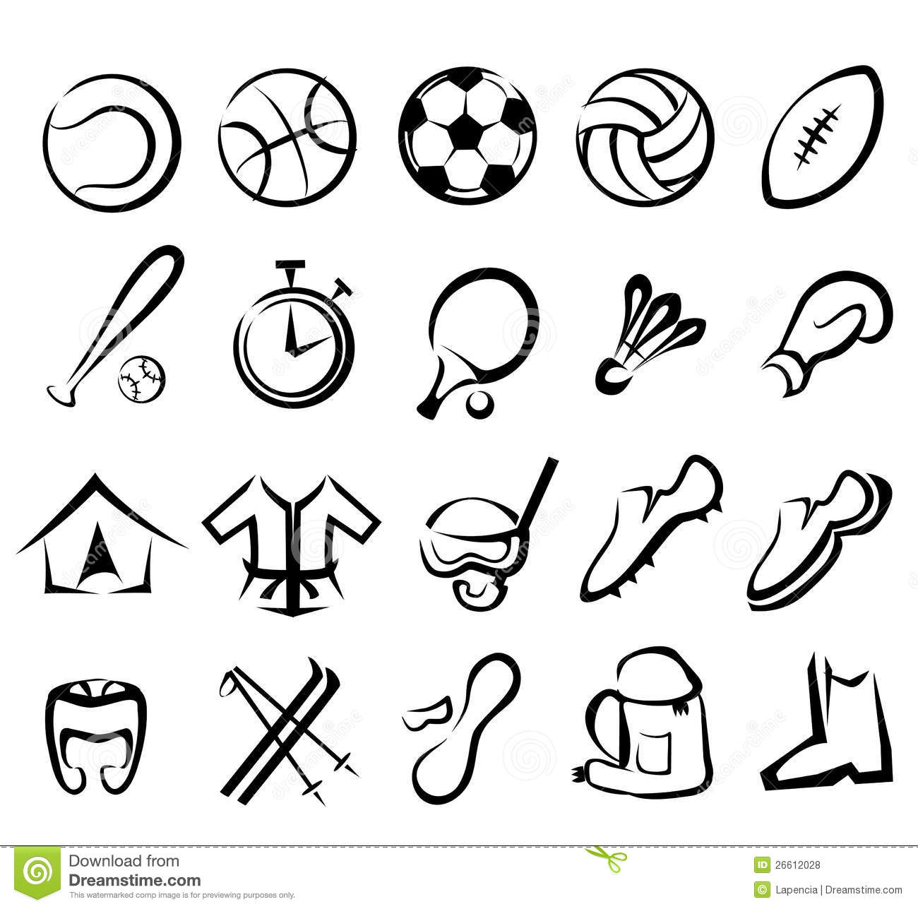 Sports Equipment Icons Set Royalty Free Stock Photos