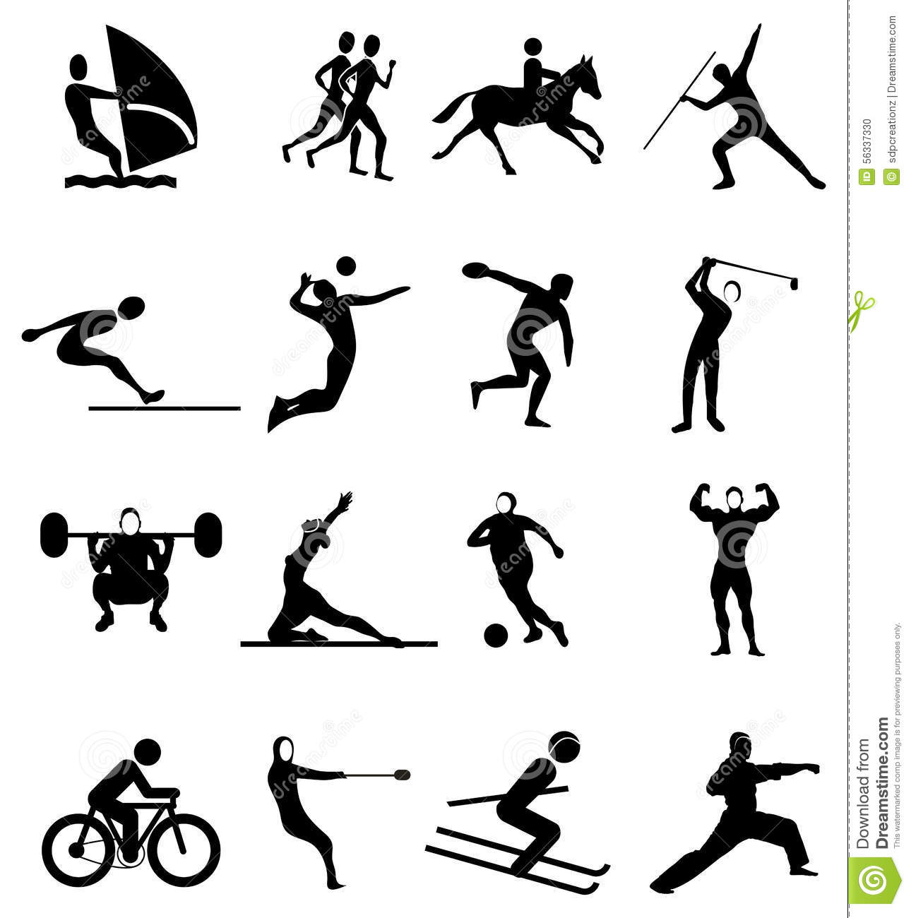 Sports People Icons Set Stock Vector Illustration Of