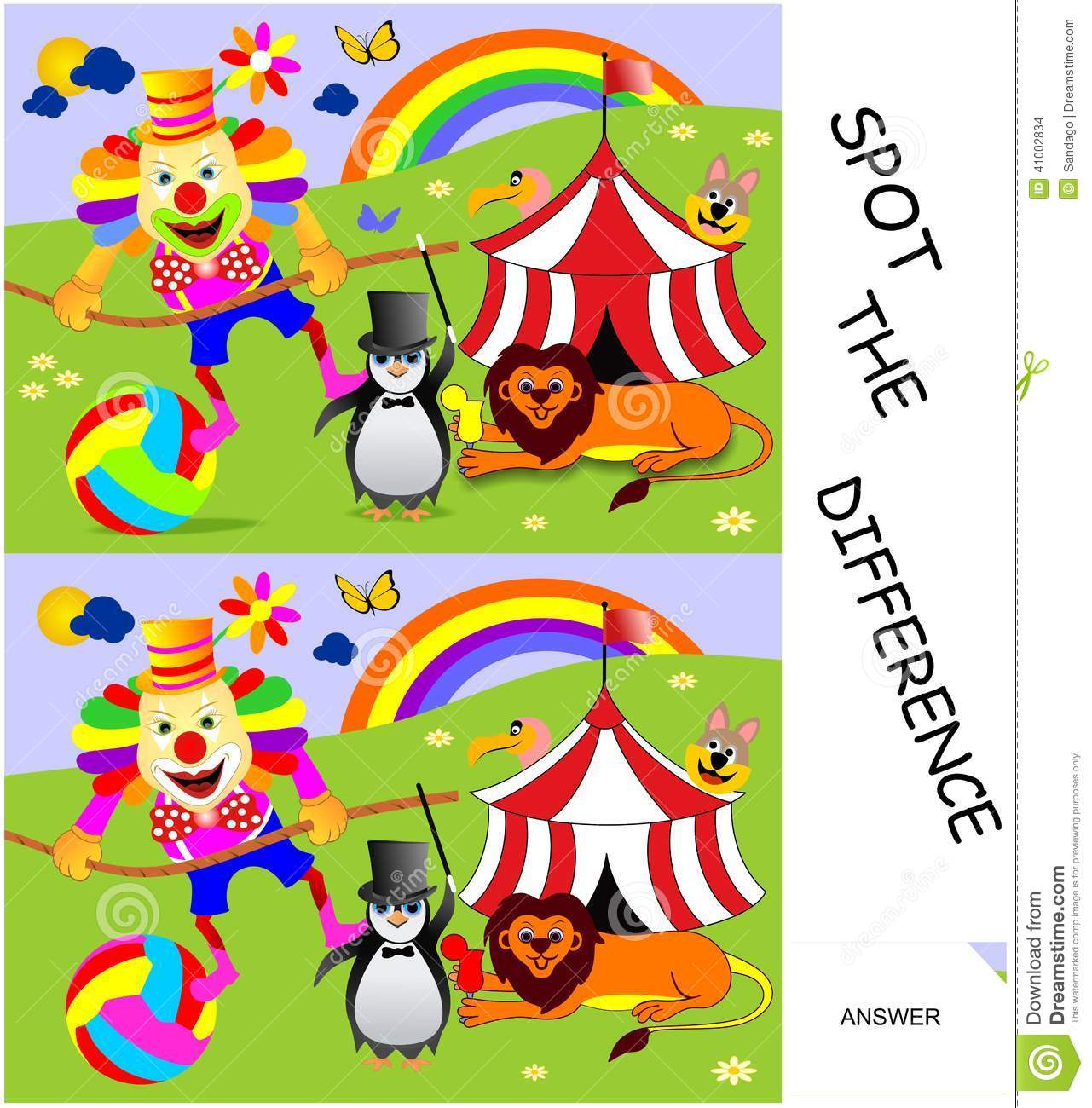 Spot The Difference Stock Vector Illustration Of Cartoon