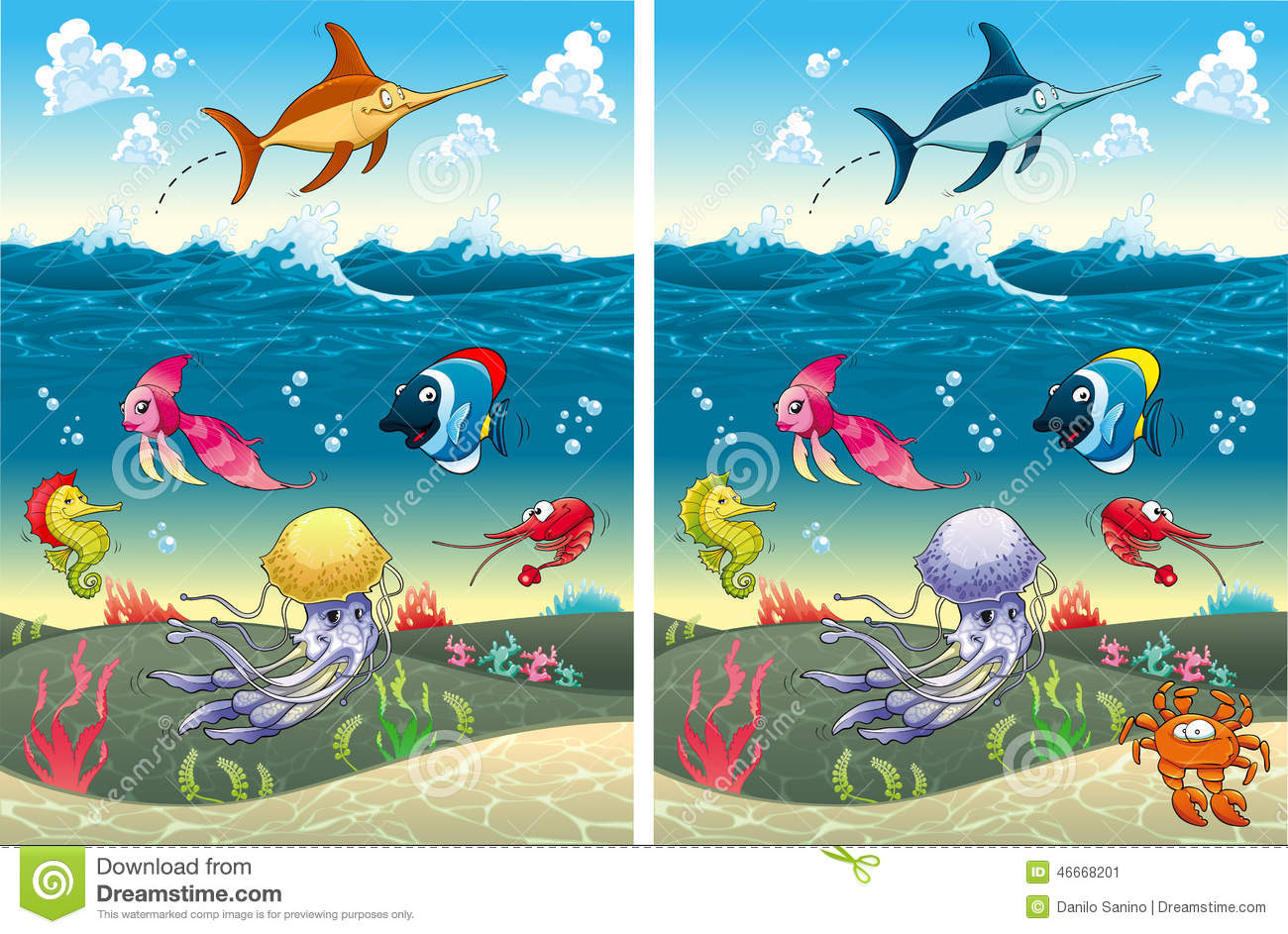 Spot The Differences Stock Vector Illustration Of Ocean