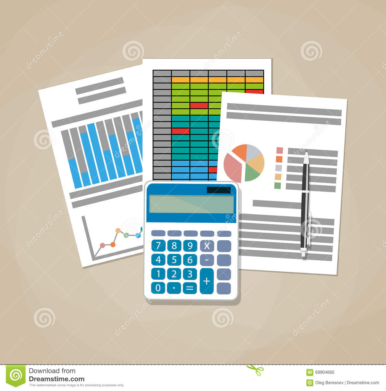 Spreadsheet Concept Business Background Stock Vector