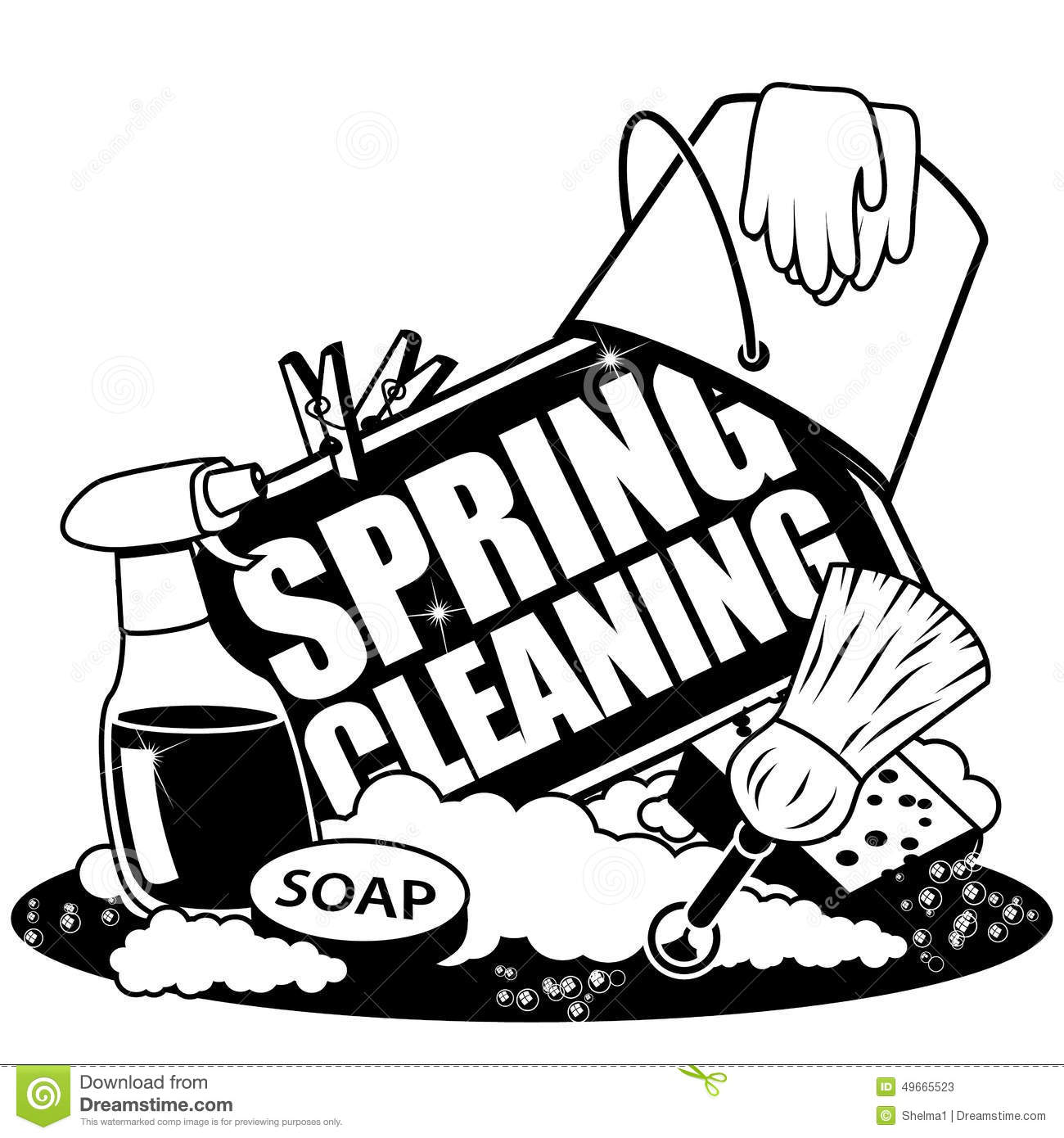 Spring Cleaning Icon In Black And White Stock Vector