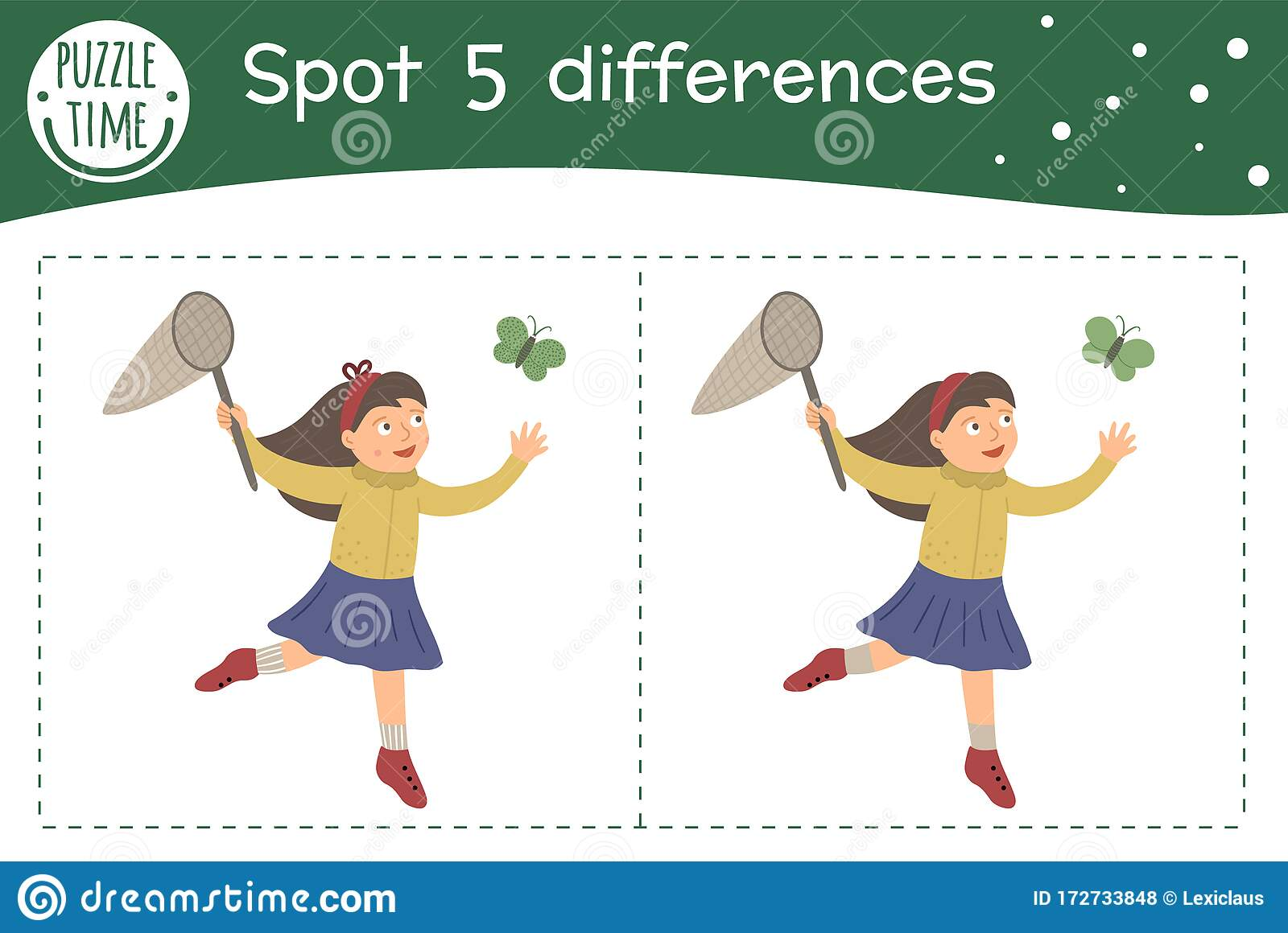 Spring Find Differences Game For Children Garden