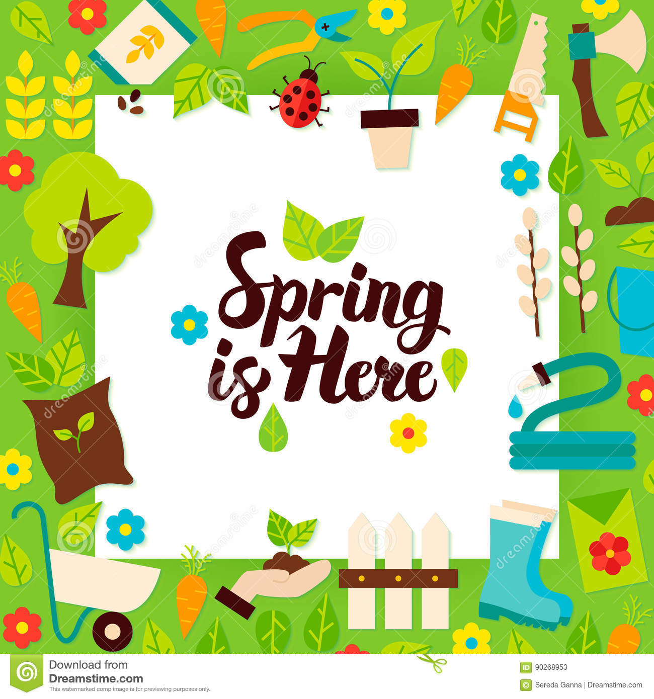 Spring Is Here Paper Template Stock Vector