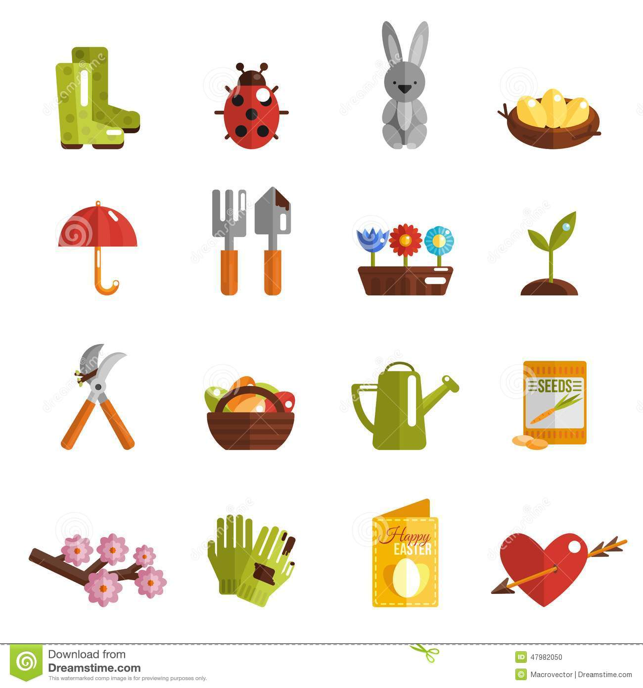 Spring Icon Flat Stock Vector