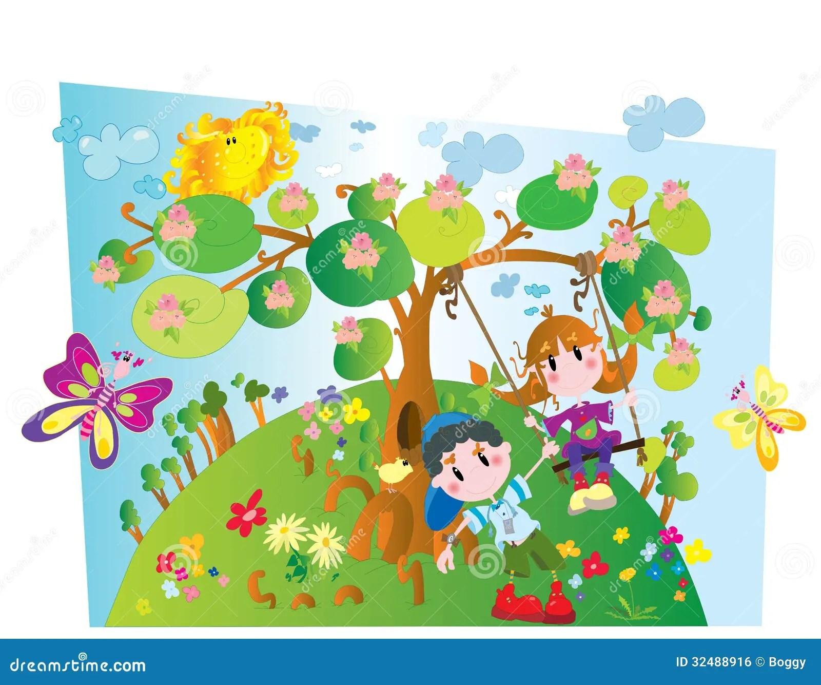 Spring Stock Illustration Illustration Of Active Little
