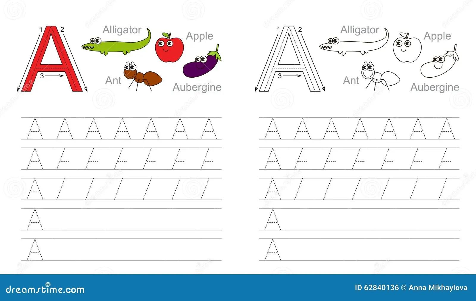 Spurarbeitsblatt Fur Buchstaben A Vektor Abbildung