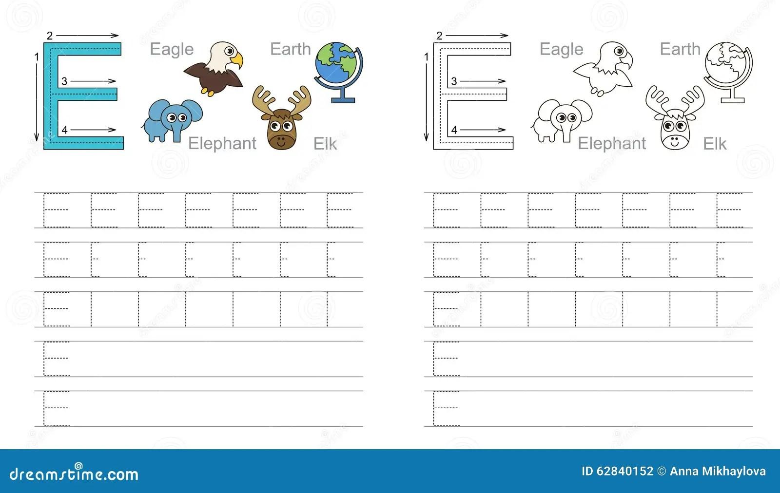 Spurarbeitsblatt Fur Buchstaben E Vektor Abbildung
