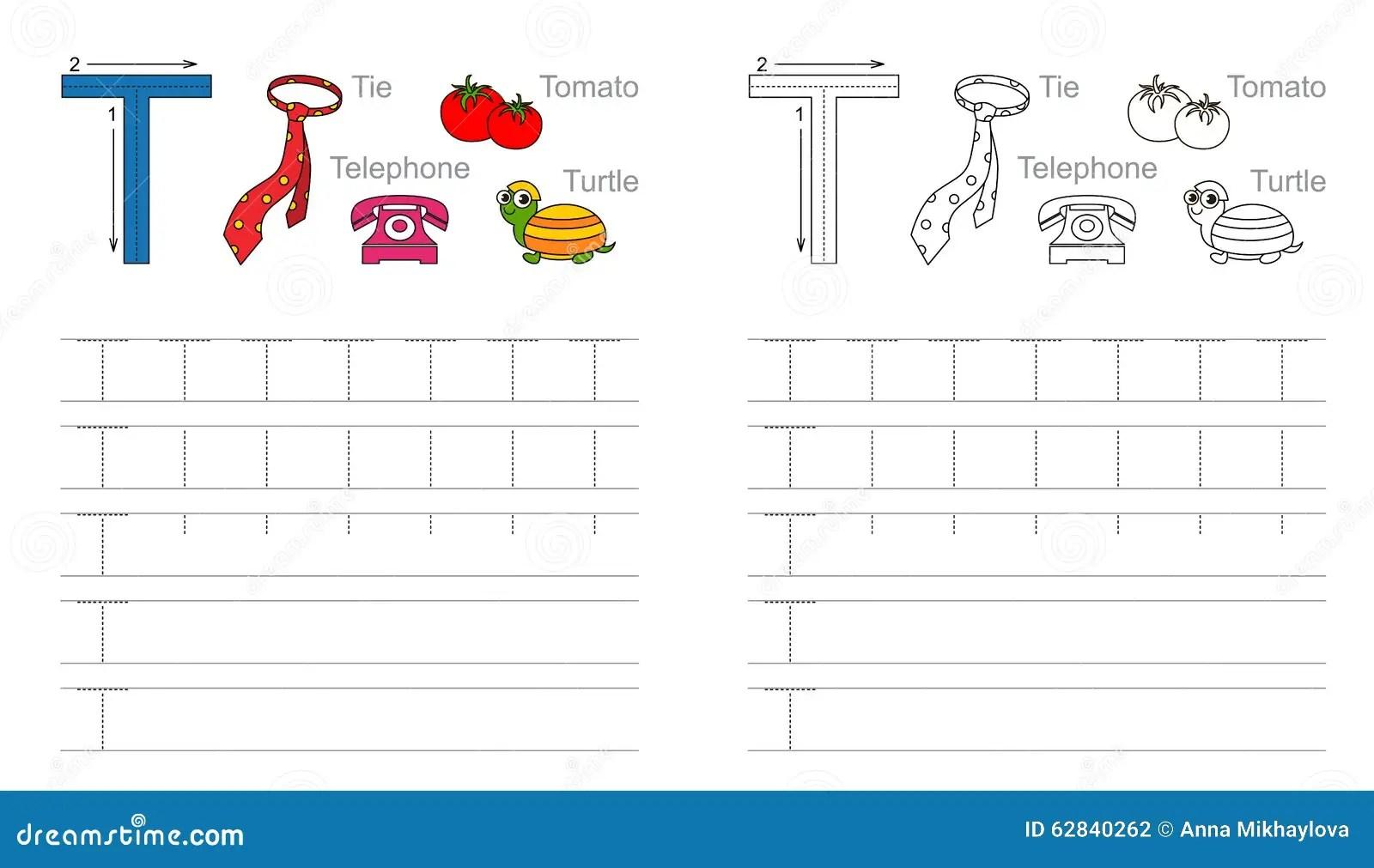 Spurarbeitsblatt Fur Buchstaben T Vektor Abbildung