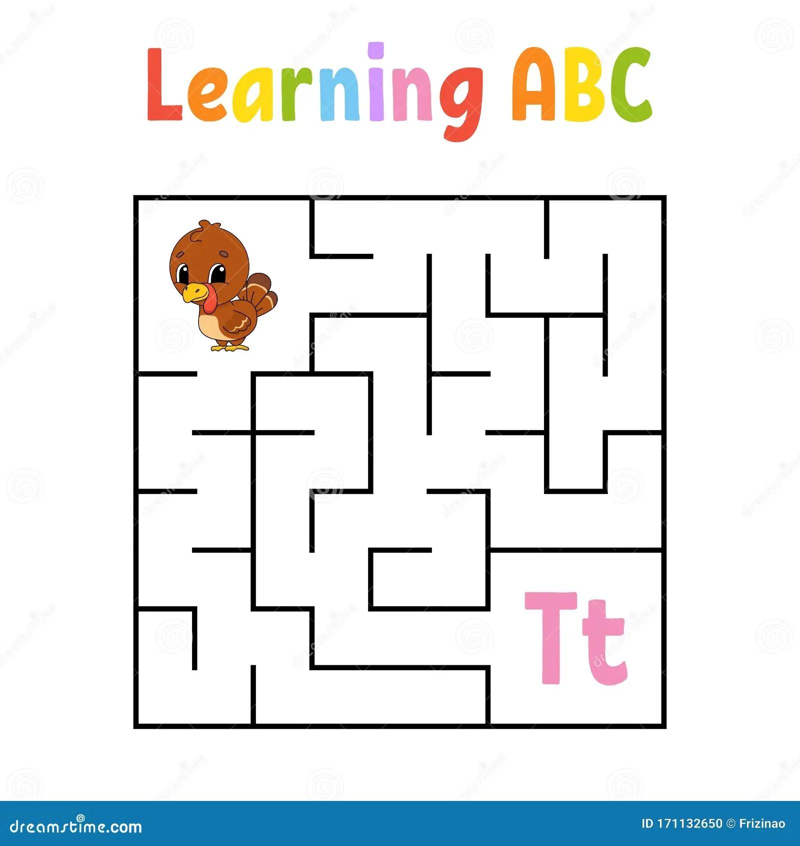 Square Maze Game For Kids Turkey Bird Quadrate
