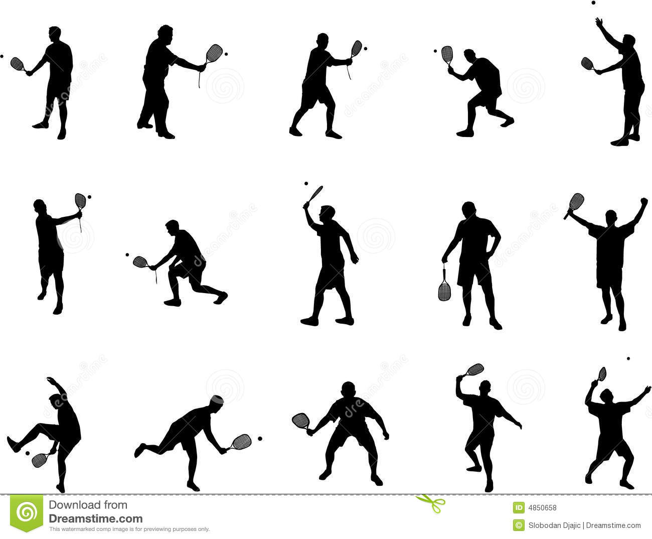 Squash Player Silhouettes Vector Illustration