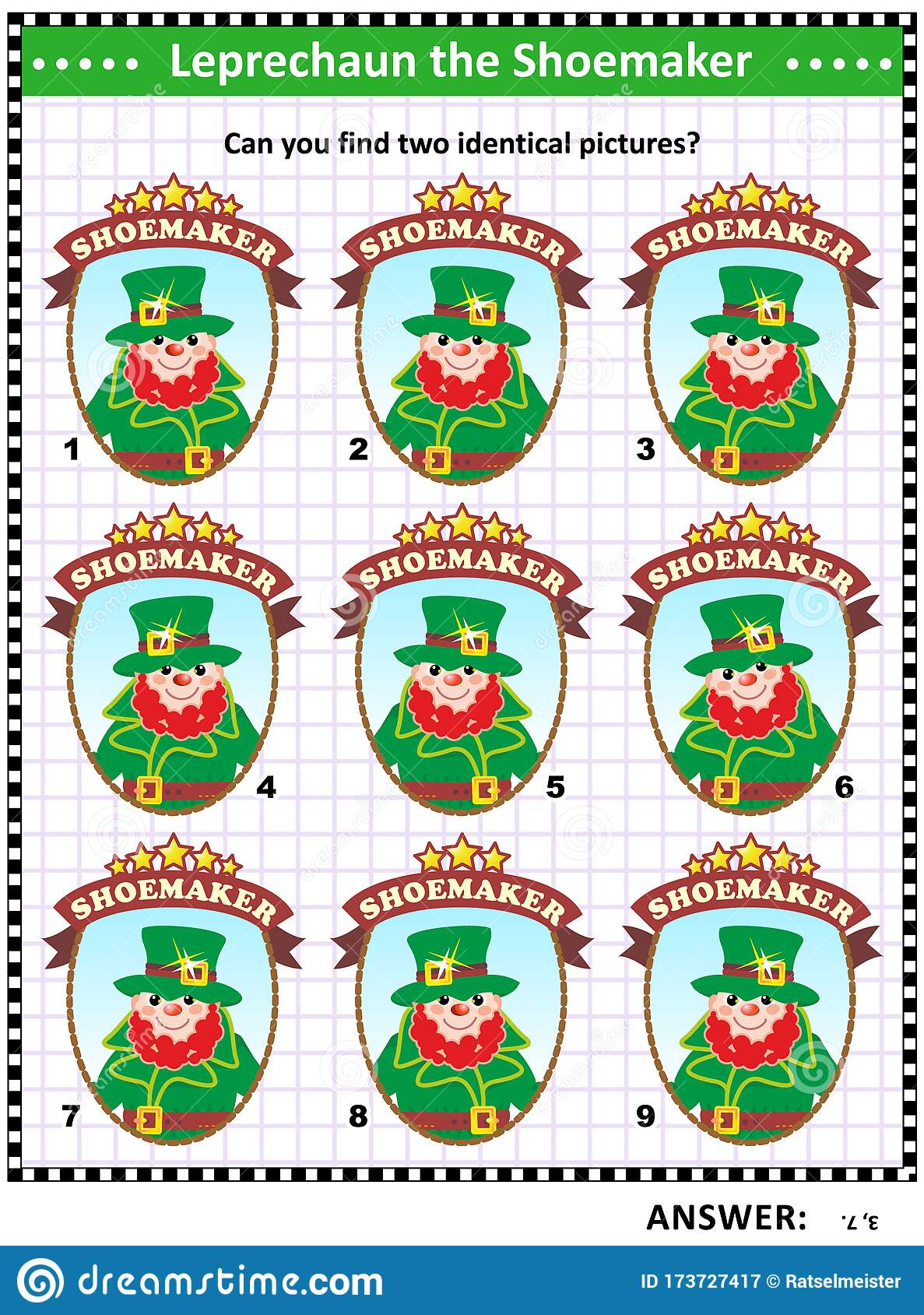 St Patrick S Day Visual Puzzle Or Picture Riddle Stock