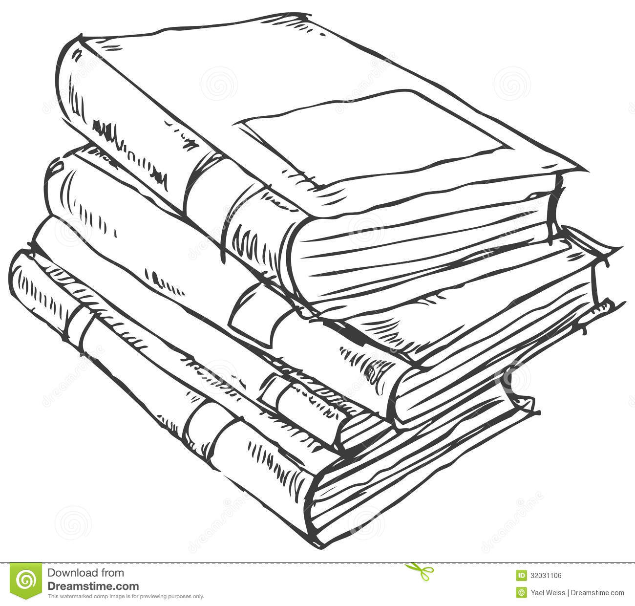Stack Of Books Doodle Stock Vector Image Of Kids Black