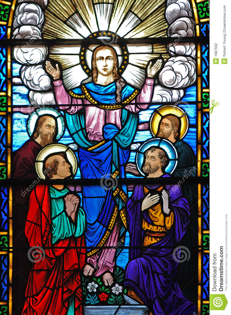 Stained Glass Window Of Christ And His Disciples Stock