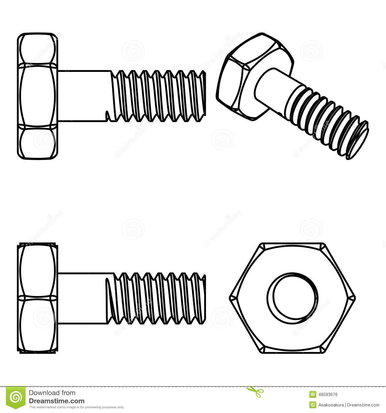 Stainless Steel Bolt And Nut Vector Illustration Stock