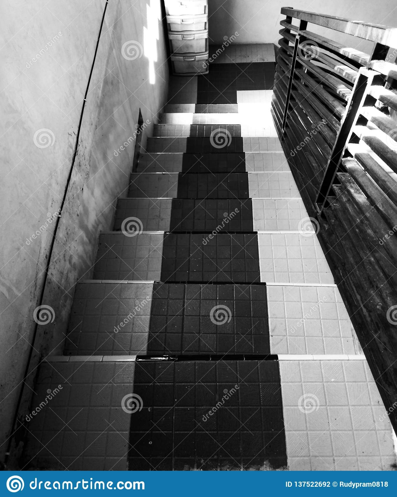 Stair Design Stock Photo Image Of Object Stairs Tile 137522692   Black And White Stairs Design   Farmhouse   Photography   Concept   Disappearing   Grey Background