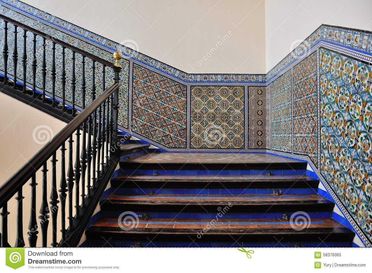 Stairs Moorish Tiles On A Wall In The Alcazar Of Seville | Tiles Design For Stairs Wall