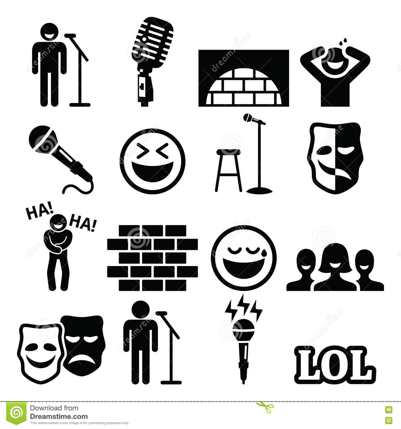 Stand Up Comedy Light Wall Vector Illustration
