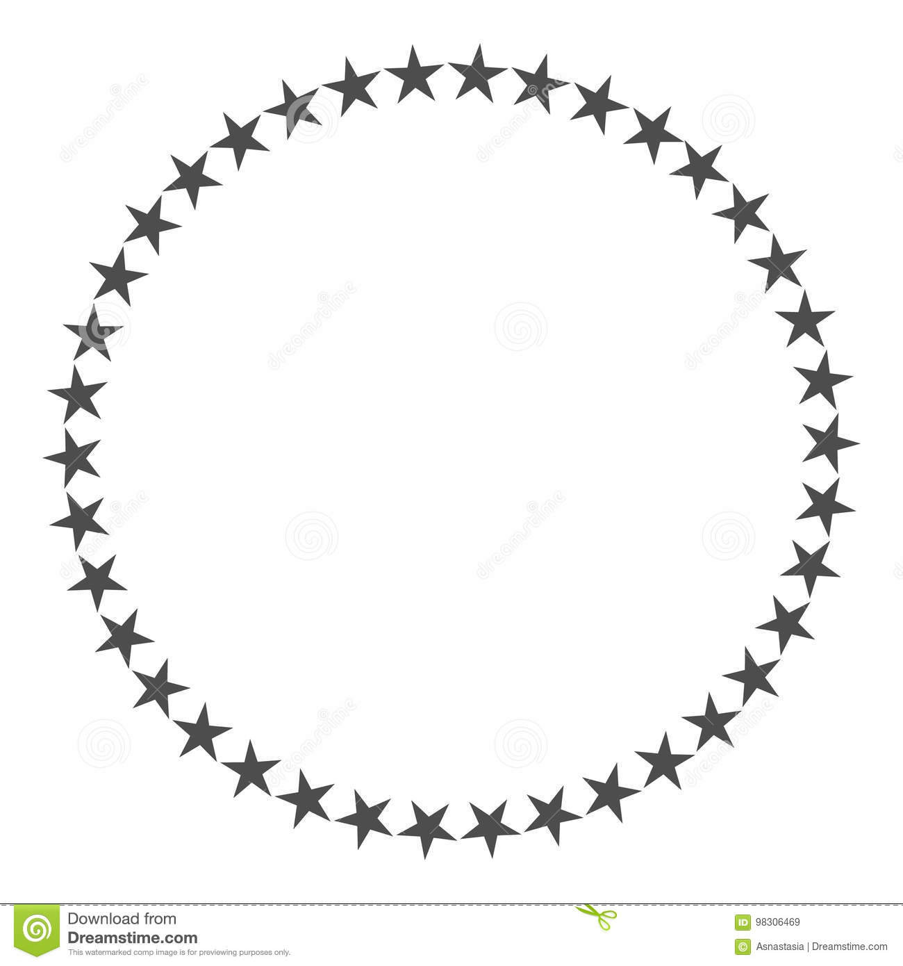 Star In Circle Shape Starry Vector Border Frame Icon
