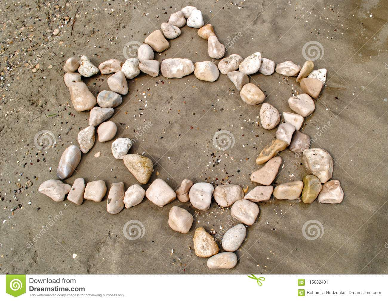 Star Of David Made Of Stones On Sand Stock Image Image Of Sand Holiday 115082401